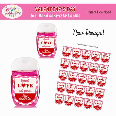 Valentines Day Instant Download 1 Oz Hand Sanitizer Label Favors