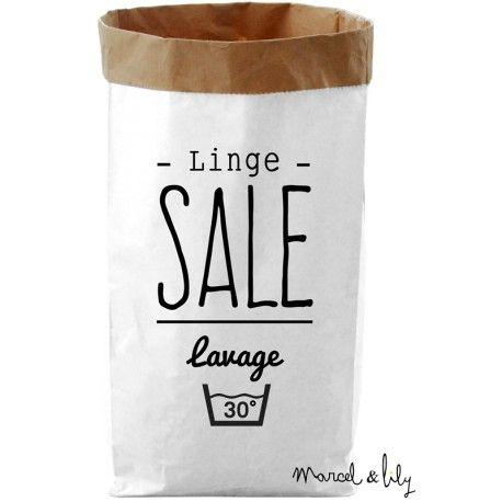 Le paper bag est un grand sac de rangement en papier kraft, double épaisseur ultra résistant , déco et design imprimé chez Marcel et Lily