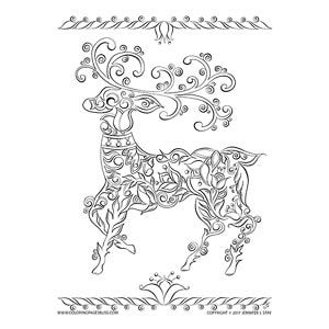 Elegant Reindeer Art Coloring Page Inspired By Scandinavian Red Embroidery Elegant Drawing Of A Coloring Pages Mandala Flower Tattoos Christmas Coloring Pages