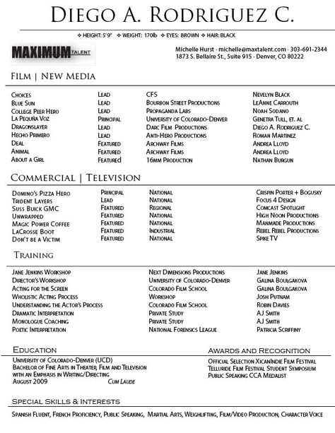 Commercial Acting Resume Sample #100 -    topresumeinfo 2014 - actor resume format