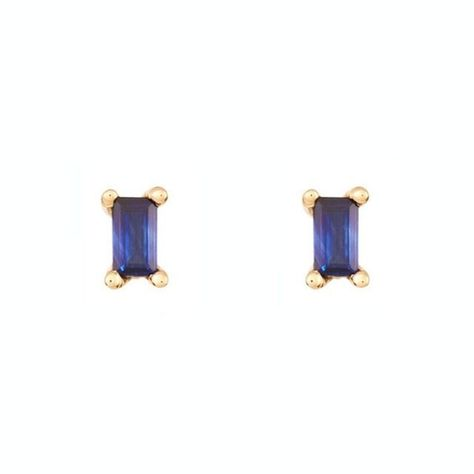 Mark the fifth anniversary with the new traditional gift of sapphire jewelry. Sold as either single studs or as pairs, these Los Angeles-made Jennie Kwon earrings feature gleaming stones of sapphire, a baguette shape, and a frame of 14K yellow gold. Click through for more 5th Anniversary Gift Ideas! #5thanniversarygift #anniversarygifts #weddinganniversary #anniversarygiftideas #sapphireearrings #sapphirestudearrings #studs