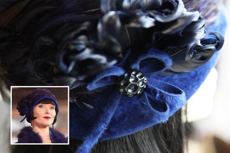 While we were filming in Queenscliff, Victoria, a stranger donated a selection of her grandmother's old 1960s hats to our designer. Luckily one of the felt hats matched Phryne's blue velvet jacket perfectly. The feather band was added from an original 1920s hat. #MissFisher #PhryneFisher #EssieDavis #hat #hats #vintage #fashion #costume #blue #velvet #1920s #behindthescenes