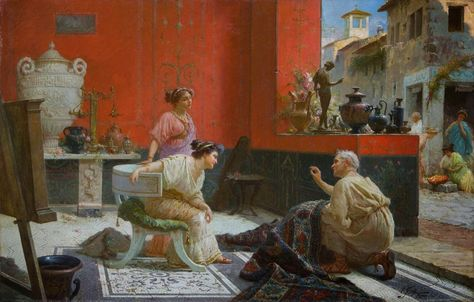 Bagno pompeiano ~ Ettore forti uma antiga loja de curiosidades Óleo sobre tela