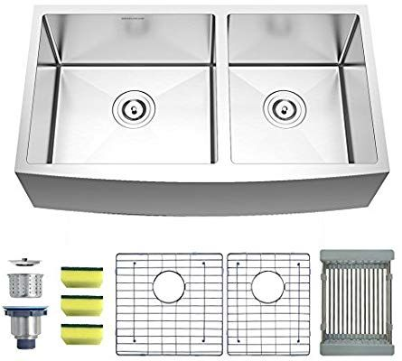 Mensarjor Apron Sink Farmhouse 33 X 20 Inches 60 40 Double Bowl 16 Gauge Stainless Steel Kitchen Sin Steel Kitchen Sink Stainless Steel Kitchen Sink Apron Sink