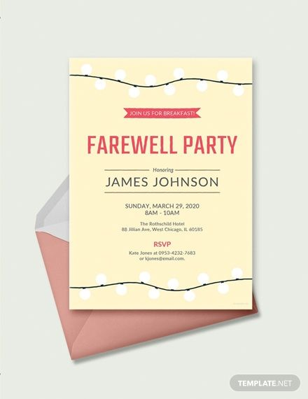 Free Farewell Breakfast Invitation Dinner Invitation