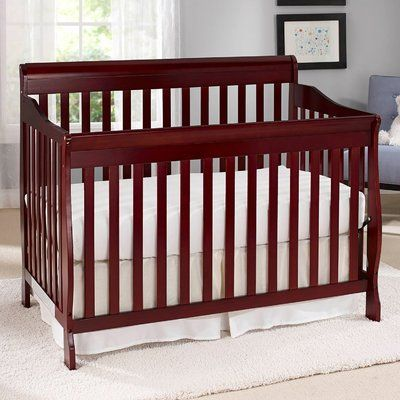 Baby Time International Big Oshi Stephanie 4 In 1 Convertible Crib With Mattress Color Cherry Convertible Crib Cribs Crib Mattress