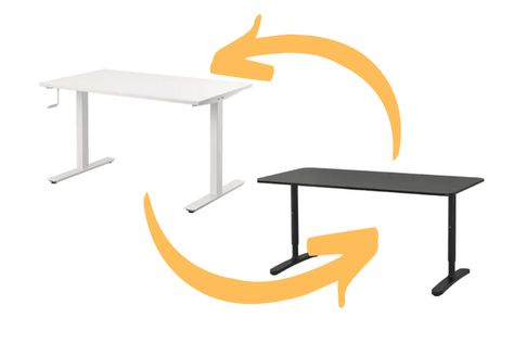 Instructions For How To Affix An Ikea Gerton Table Top To The Ikea Bekant Sit Stand Desk Frame In 2020 Ikea Bekant Ikea Standing Desk Ikea Desk Top