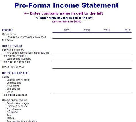 Income Statement Template  Accounting Forms