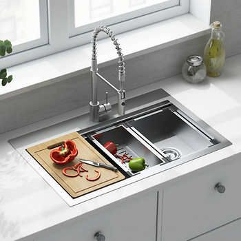 American Standard Culver Welded Kitchen Sink And Semi Pro Faucet Package Modern Kitchen Design Contemporary Kitchen Modern Kitchen