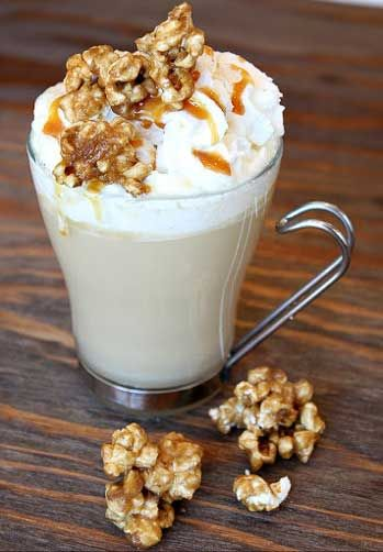 Caramel Corn Hot Chocolate: almond milk, corn, white chocolate, whipped cream, caramel sauce, corn