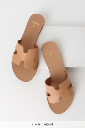 Anafi Natural and Gold Leather Flat Sandals | Slide sandals