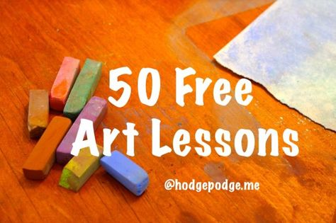 50 Free Art Lessons - my kids have been wanting to use those pastels sittin' in our art box. Time for Mom to get over the fact that it's gonna be messy and let 'em at it!