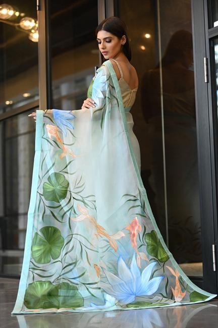 silk tunic dress light pink  hand painted silk dress  casual silk dress  designer silk dress