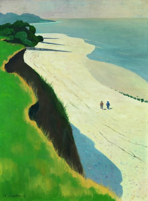 Vallotton a été influencé à la fois par la technique photographique (il en faisait) et l'estampe japonaise (qu'il collectionnait) et cette œuvre en atteste. «Là on est dans le cadre d'une villégiature estivale précise la commissaire. Le Vallotton paysagiste ne posait pas son chevalet devant le paysage pour peindre. C'est un peintre de la distance. Il arpentait les paysages, se promenait avec un carnet de c...