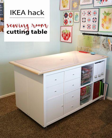 New Sewing Room Storage Diy Ikea Hacks Ideas Ikea Sewing Rooms, Small Sewing Rooms, Sewing Room Storage, Sewing Room Organization, My Sewing Room, Sewing Room Decor, Small Craft Rooms, Kids Rooms, Fabric Cutting Table