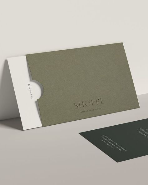 Card design for California based home essentials brand @shoppeamberinteriors. Founders Amber and Mike have curated a home and lifestyle store to serve the lifestyle of their community — olive green, card design, shopping and retail, logo design, holistic design, typography, typography system, color scheme, color palette, web design, branding for accessory brand, hand tags, rebrand, brand's signature hue, product photography