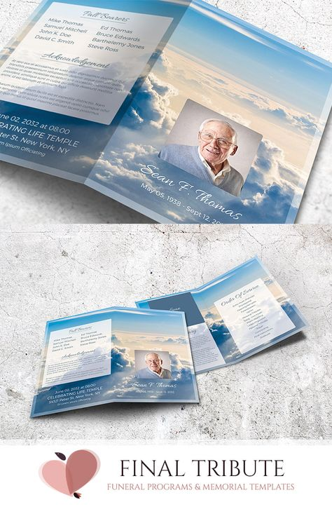 Editable with Microsoft Word Instant Download Freedom in Heaven Funeral Program Template