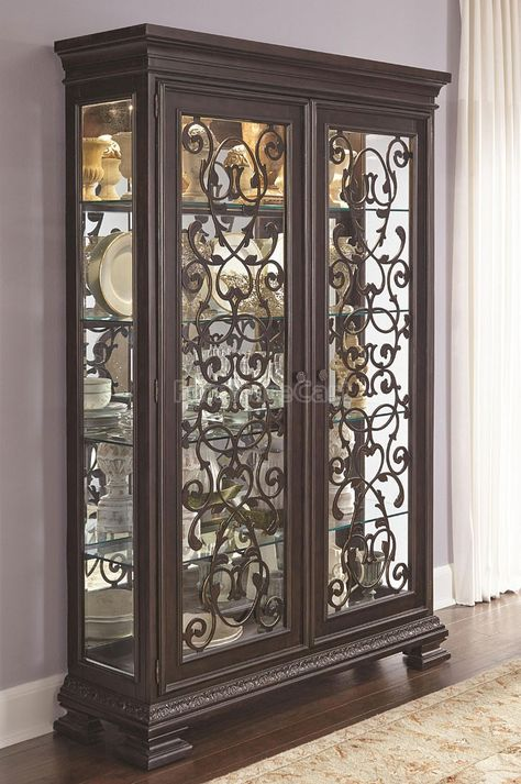 Curio Cabinet With Wrought Iron Decor, Wrought Iron China Cabinet