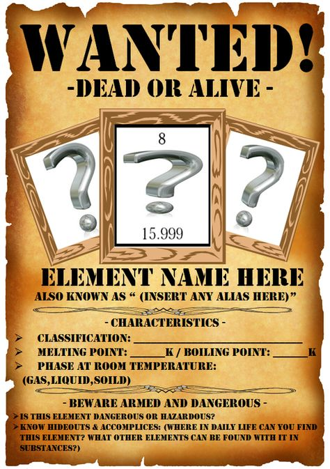 wanted signs template Teacher Information - Periodic Wanted Poster Web Quest