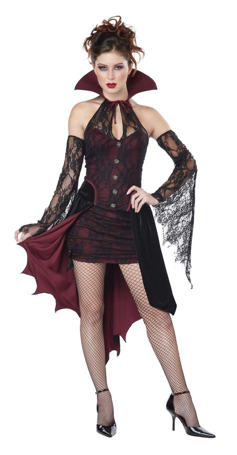 Ladies Dark Temptress Vampire Costume Womens Halloween Fancy Dress Plus 16-30