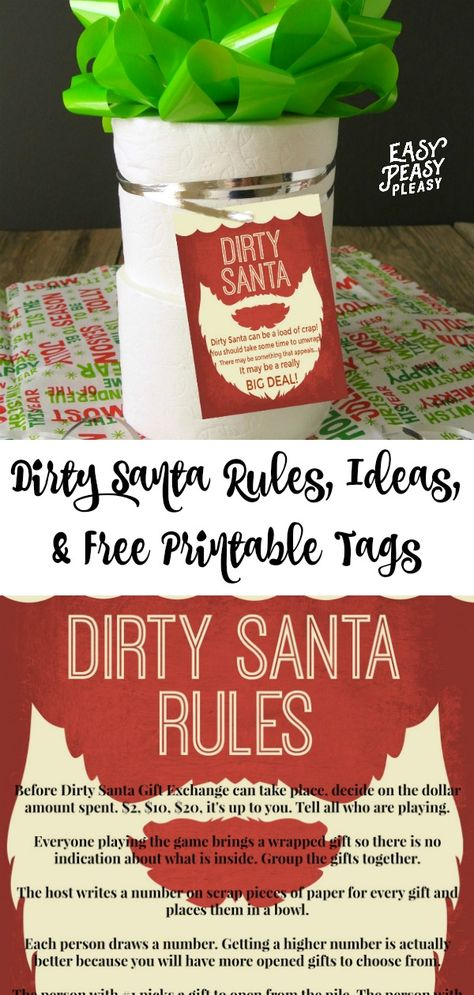 Dirty Santa Rules, Ideas for gifts, and free printable dirty Santa gift tags. #dirtysanta #dirtysantarules #dirtysantaprintables #dirtysantagifts