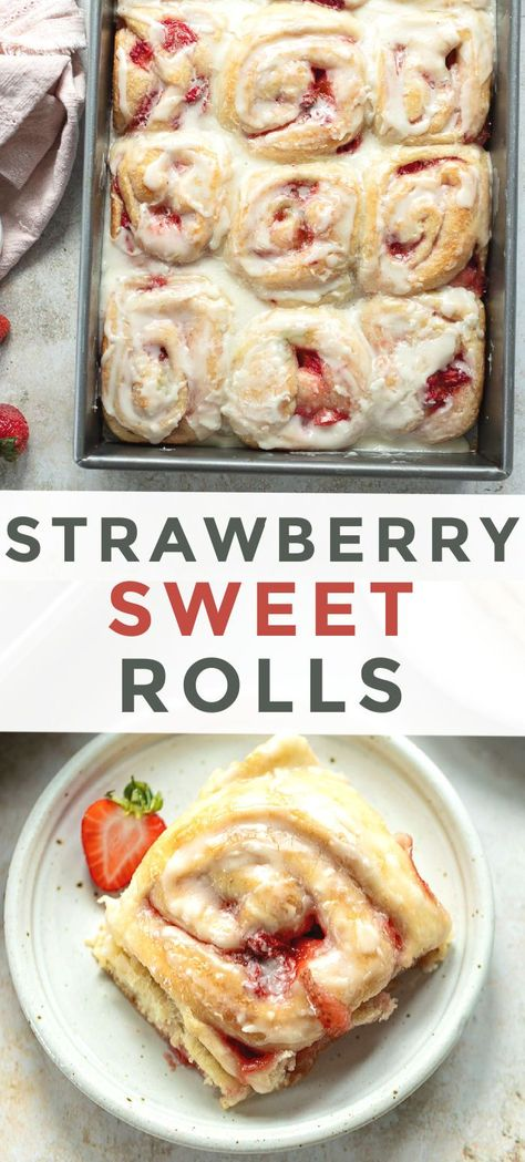 Homemade sweet roll recipe that makes gooey strawberry-swirled soft rolls with a creamy lemon glaze — perfect for relaxed mornings.