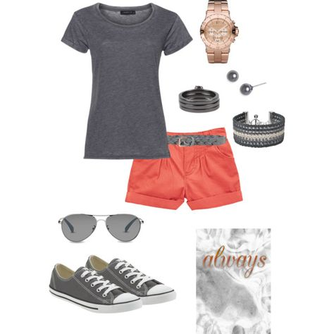 Gray & coral shorts, created by parochick on Polyvore