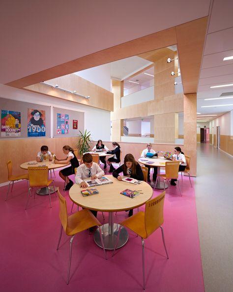 park mains high school showcasing dlw linoleum flooring 21st century design pinterest industrial ranges and interiors - Linoleum Restaurant Interior