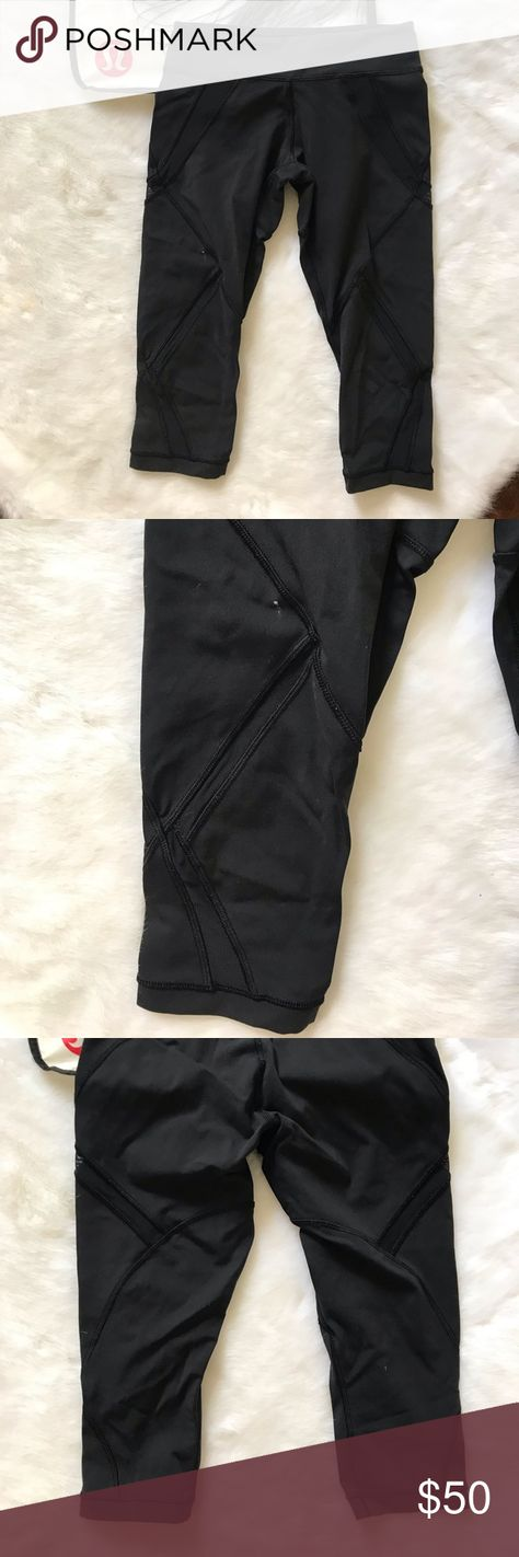 008ae9ce456e03 Lululemon mesh detail Crop leggings black 4 Good preowned condition. A few  white pants stains