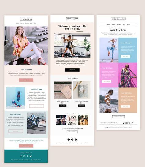 3 Email templates bundle, Email newsletter, Newsletter template mailchimp, Mailchimp email template