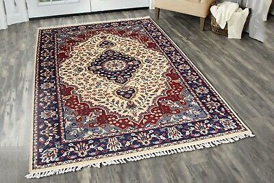Details About One Of Kind Hand Knotted Carpet Antique Beige Blue