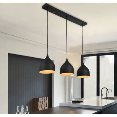 Modern Linear Multi Light Pendant With Black White Teardrop Shade 3 Lights Modern Ceiling Lamps Lighting Fixtures Kitchen Island Kitchen Lighting Fixtures