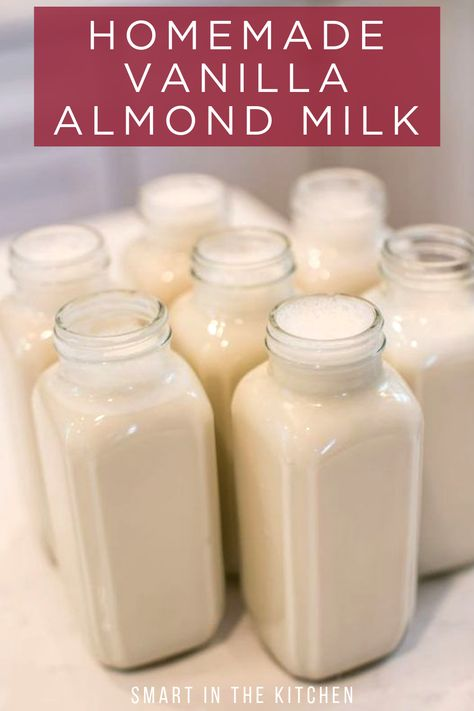 Homemade vanilla almond milk, sweetened with dates. Homemade vanilla almond milk, sweetened with dates. Almond Milk Creamer, Make Almond Milk, Almond Milk Recipes, Homemade Almond Milk, Homemade Vanilla, Almond Milk Recipe With Dates, Coconut Milk, Recipes With Milk, Health Desserts