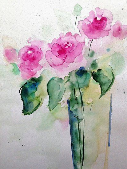 Roses In The Vase Photographic Print By Britta75 Watercolor