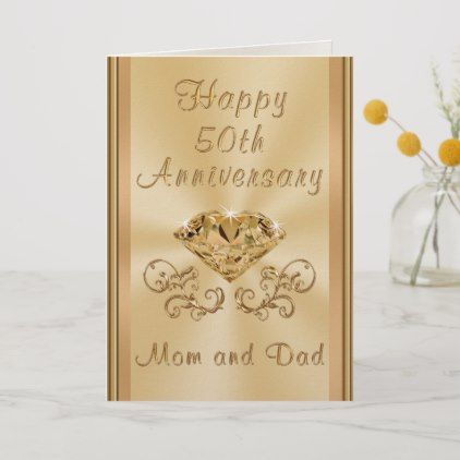 Personalized 50th Anniversary Card For Parents Zazzle Com 50th Anniversary Cards Personalized Anniversary Cards Anniversary Card For Parents