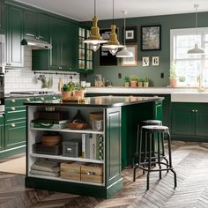 A Green Fresh And Traditional Bodbyn Kitchen In 2020 Green Kitchen Island Green Kitchen Dark Green Kitchen