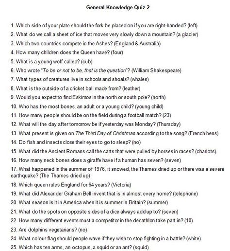 A wide selection of adaptable general knowledge questions.