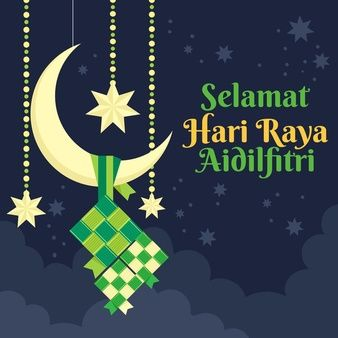 Download Flat Design Hari Raya Aidalfitri White Crescent Moon For Free Eid Card Designs Banner Drawing Card Banner