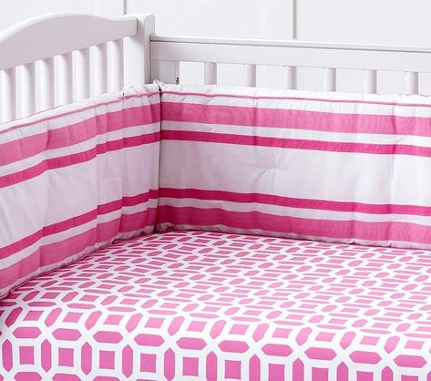 Pottery Barn Kids Bright Pink Harper Clover Geo Crib Fitted Sheet