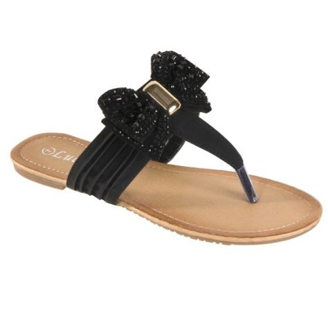 380c64982 Lucita Womens Maey Bow Thong Sandals Black 7M   Check this awesome product  by going to the link at the image. (This is an affiliate link)   ...