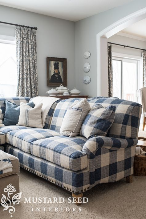 Arhaus Outerbanks Sectional - Miss Mustard Seed Our new sofa in the living room: the Outerbanks Sectional from Arhaus. I chose a bold blue & white buffalo check fabric . Home Living Room, Living Room Designs, Living Room Decor, Plaid Living Room, Country Cottage Living Room, Plaid Couch, Blue And White Living Room, Miss Mustard Seeds, Girls Bedroom