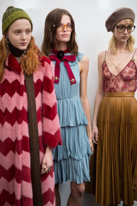 More #Gucci AW15 #backstage action at #MFW I love the dress in the middle!