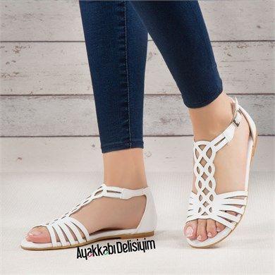 Pinsem Beyaz Sandalet Sandalet Moda Ayakkabilar Bayan Ayakkabi