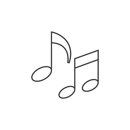 Music Notes Icon In Thin Outline Style Musical Sheets Sign Crotchets Music Notes Notes Outline