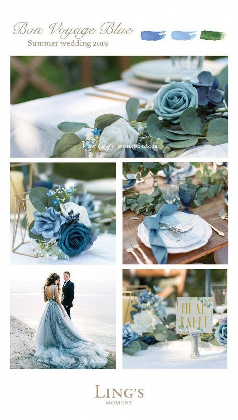 The best dusty blue artificial flowers for DIY wedding bouquets and arrangements. Shop dusty blue flowers for your wedding decoration at lingsmoment.