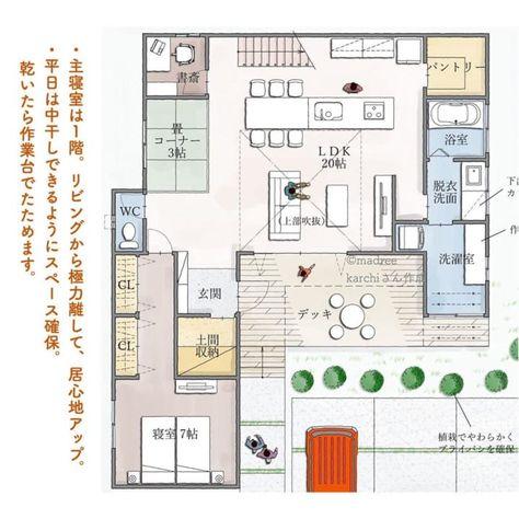 ご夫婦は1階だけでも暮らせる 平屋風の間取り Folk 間取り 家の間取り 平屋 間取り 40坪