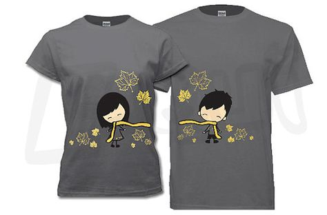 Couple T-shirt  his and hers Fall maple leaves charcoal by EQWear