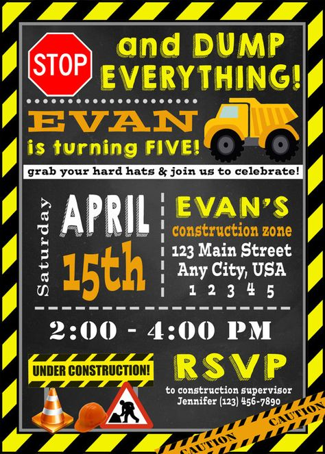 Construction Birthday Invitation PRINTABLE DIY, Dump Truck, Hard Hat, Tractor, Boys Birthday, 5X7, B