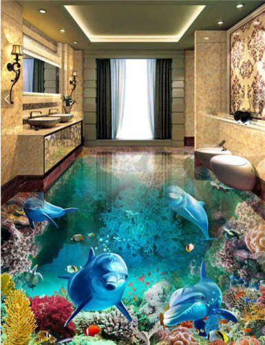 Seaweed Shark Small Fish 3d Floor Mural Photo Flooring Wallpaper Home Printing 3d Floor Painting Floor Murals Painted Floors