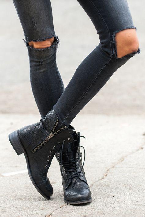 Rock 'n' Roll Style ✯ Croco Combat Boots #ANINEBI